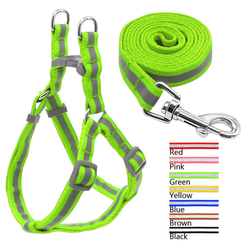 7 Colors Nylon Reflective Dog Harness Leash Lead Set For Small Medium Dogs
