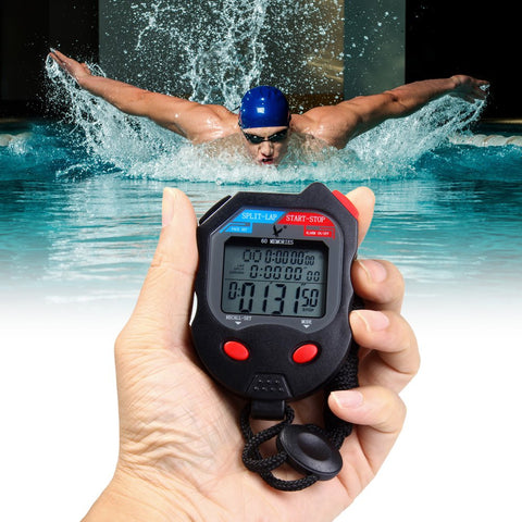 3 Rows 60 Memories LCD Digital Sports Stopwatch with Calendar Alarm