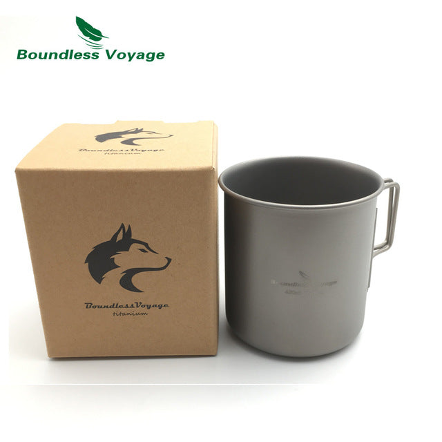 420ml Camping Titanium Cup With Lid