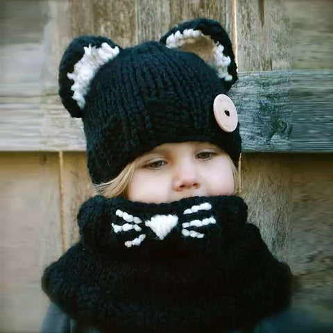 HAPPYTAIL Handmade Winter Hooded Cowl Cute Cat Soft Warm Beanie and Scarf Set for Baby Girls 2-5 Years Kid Knitted Hat