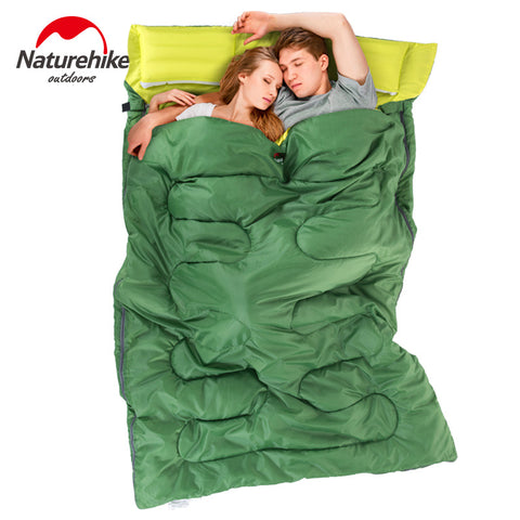 2.15m x 1.45m Double Sleeping Bag Envelope Spring and Autumn Camping Sleeping Bag with Pillow
