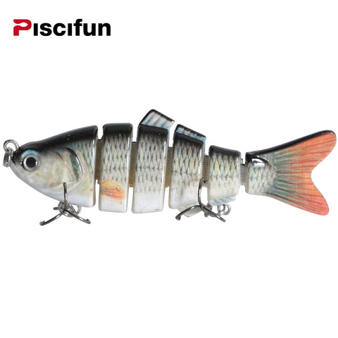 Swim Bait Fishing Lure 10cm 20g 3D Eyes 6-Segment Lifelike Fishing Hard Lure Crankbait With 2 Hooks