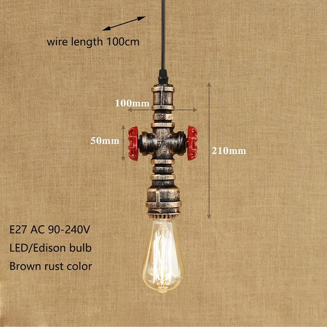 4 Styles Loft Industrial Water Pipe Vintage Pendant Lamp LE27 LED Lamp Light