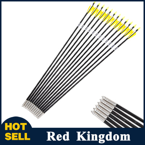 "12 Pcs 31.5"" Fiberglass Arrow Spine 700 With Steel Point For 30-80lbs Recurve Bow"