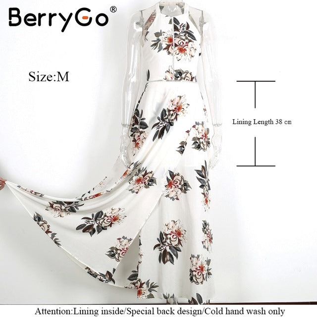 BerryGo Floral Print Halter Chiffon Long Dress Backless Maxi Dresses