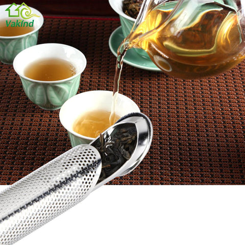 1Pcs Stainless Steel Pipe Design Strainer Tea Infuser Touch Feel Good Holder Tool Tea Spoon Infuser Filter Kitchen Accessories