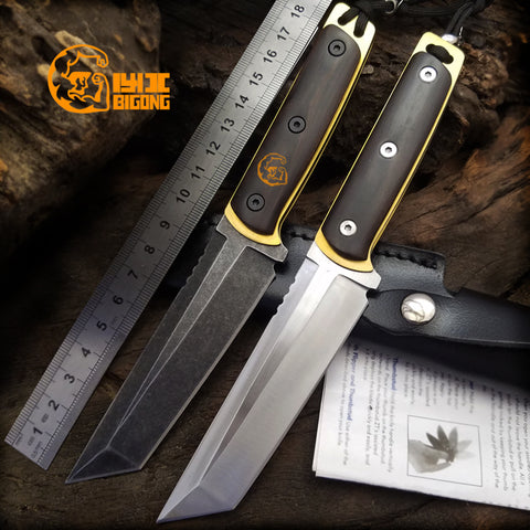 Survival Camping Knife 7CR13MOV Cold Steel Ebony Handle
