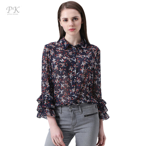 Women Blouses Chiffon Tribal Print Flower Ruffles Sleeve