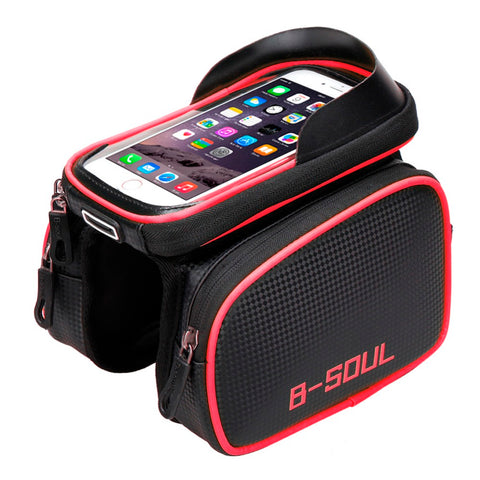 Cycling Bike Front Frame Bag Tube Pannier Double Pouch for 5.5-6.2 Inch Bicycle Cellphone Bag