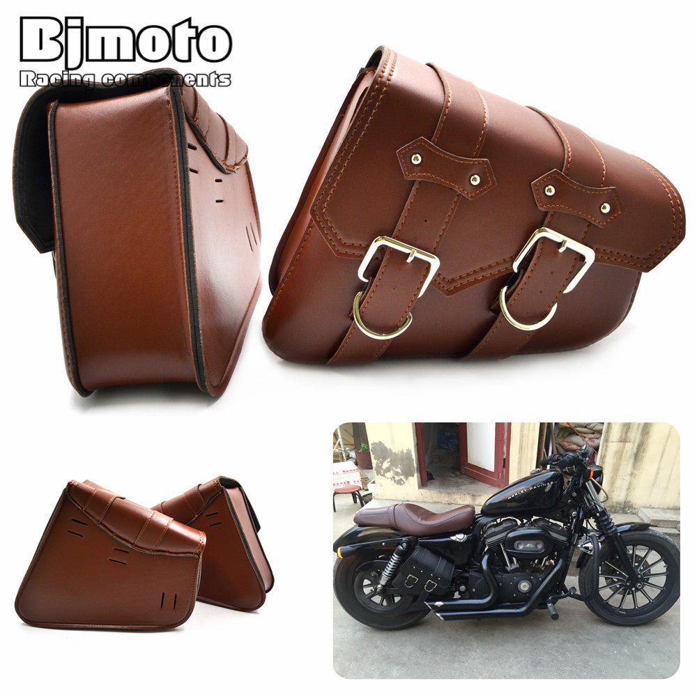 2x Universal Motorcycle PU Leather Saddle Bags Cruiser Side Storage For Harley Sportster XL883 XL1200