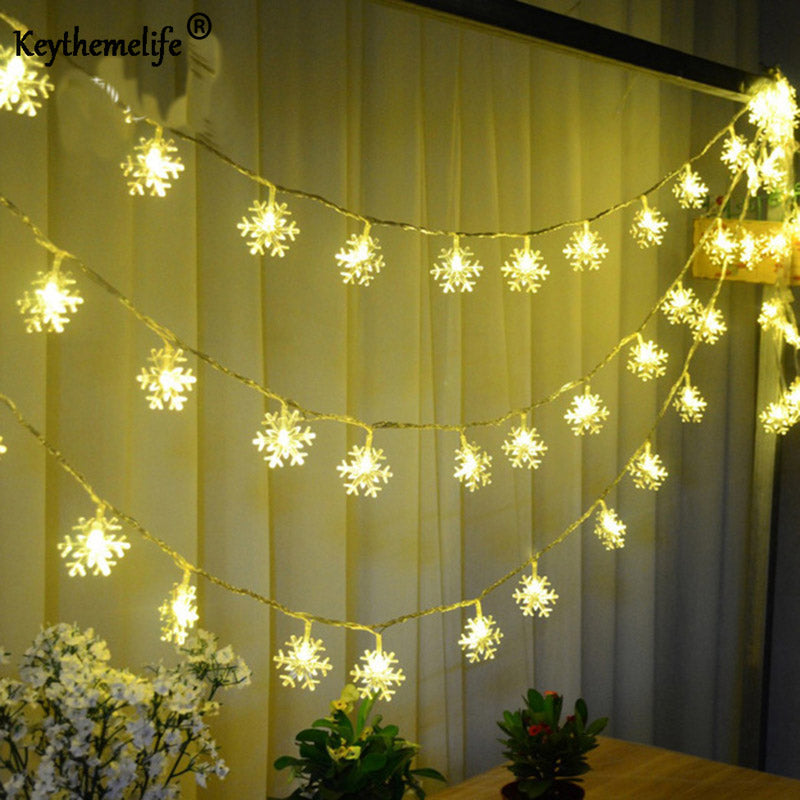 2.5M 20 LED Snowflake Lamp Battery Operated Holiday Christmas Party Decor Light Strings