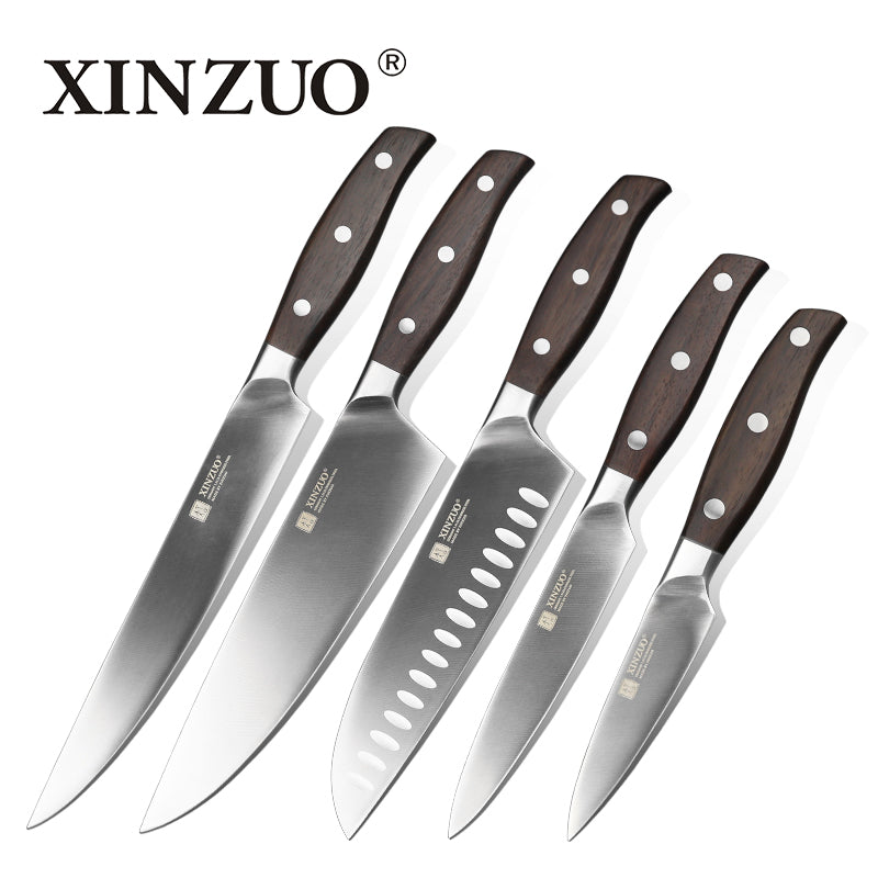 5 Pcs Kitchen Paring Utility Cleaver Bread Chef's Knife Germany DIN 1.4116 Stainless Steel