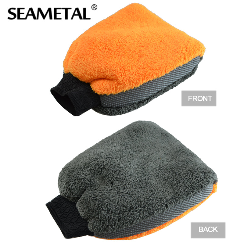 1 Pc Coral Fleece Velvet Car Wash Gloves Sponge Cloth