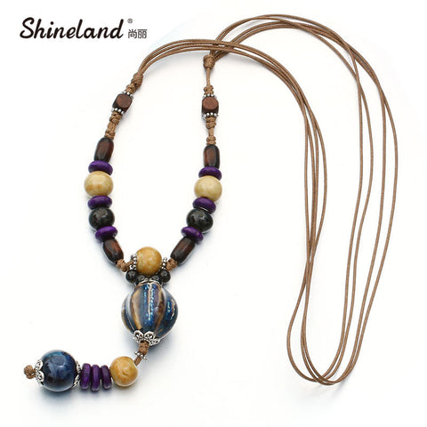Boho Ethnic Jewelry Women's Long Hand Made Ceramic Beads Wood Pendant Sweater Chain Maxi Necklace