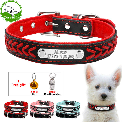 Personalized Engraved Dog Collar Braided Puppy Cat Collars With Name Plate Phone ID Tag For Small Medium Dogs