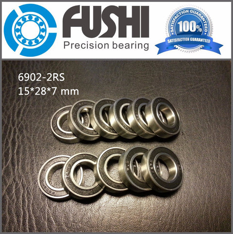 10 Pcs 6902-2RS Bearing ABEC-1 15x28x7 mm Metric Thin Section 6902 2RS Ball Bearing