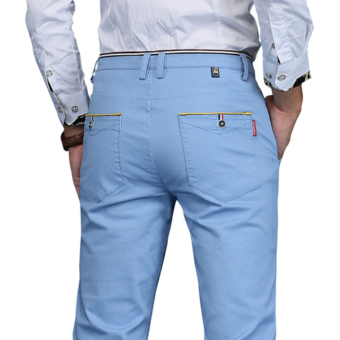 Men's Casual Cotton Slim Pant Straight Trousers
