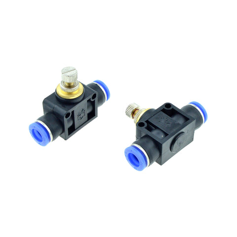 2 Pcs Inline Airflow Control 10mm x 10mm Push In Quick Connecter 2-Way Flow Limiting Pneumatic Valve Speed Controller