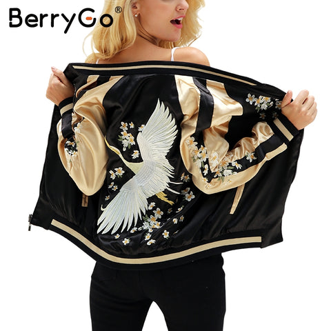Women Jacket Floral Embroidery Satin Jacket Coat Casual Baseball Jackets Reversible