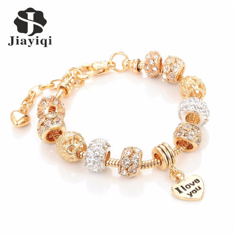 Fashion European Beads Bracelet Vintage DIY Crystal Silver Golden Color Jewelry Snake Chain Charm Bracelets for Women
