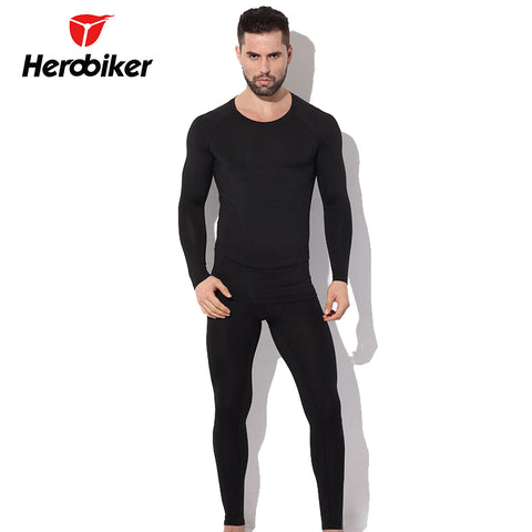 Men's Fleece Thermal Motorcycle Skiing Underwear Warm Base Layers Tight Top & Pants Set
