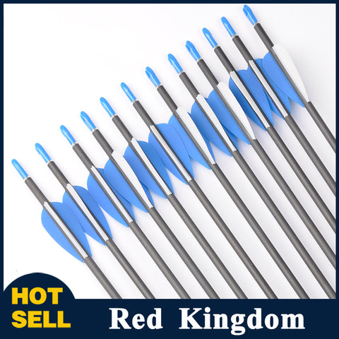 "12 Pcs 30"" Carbon Arrow Spine 700 For Compound And Recurve Bow OD 7mm"