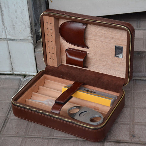 Cigar Storage Case Box Leather and Cedar Wood Humidor Kit