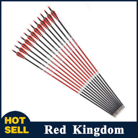 "12 Pcs 30"" Carbon Arrows OD 7.8mm Spine 500 2 Red 1 White Feathers Replaceable Arrowhead for Recurve Bow"