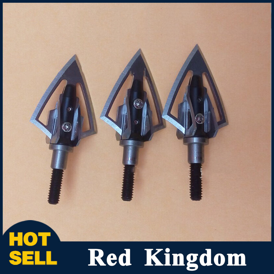3/6/12 Pcs High Quality Broadheads 100 Grain Aluminum Arrowhead in Black For Fiberglass Arrow Carbon Arrow
