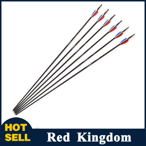 "6/12/24 Pcs 30"" Carbon Arrow Diameter 6mm Spine 1000 Red Blue White Vane For Compound And Recurve Bow"