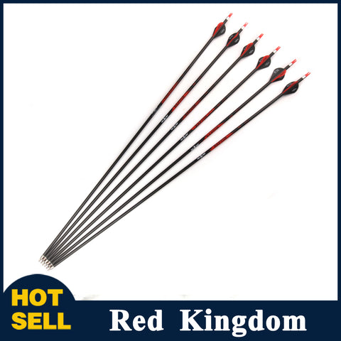 "6/12 Pcs 32"" Pure Carbon Arrow Spine 350 Diatmeter 7.8mm Replaceable Arrowhead For Compound Bow"