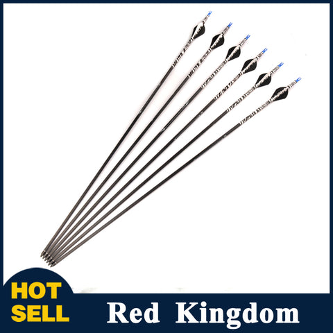 "6/12 Pcs 30"" Pure Carbon Arrow Spine 400 Diatmeter 7.2mm Replaceable Arrowhead For Compound Bow"