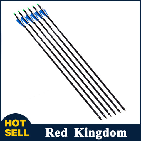 "6 Pcs 31.5"" 100% Pure Carbon Arrow Spine 340 Out Diameter 7.6mm For Compound Bow"