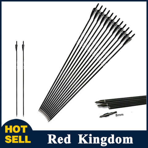 "6/12/24 Pcs 30"" Mixed Carbon Arrow Spine 500 Black and White Feather For Recurve And Compound Bow"