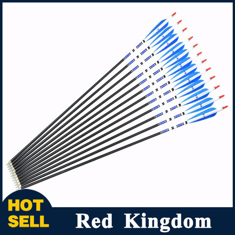 "24 Pcs 30"" Carbon Arrow Spine 500 With Real Turkey Feather For Compound and Recurve Bow"