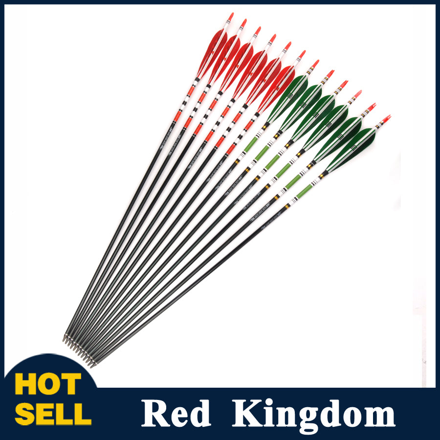 "6/12 Pcs 30"" Aluminum Arrow Spine 500 OD 7.8mm 2 Model Red/Green Turkey Feature"