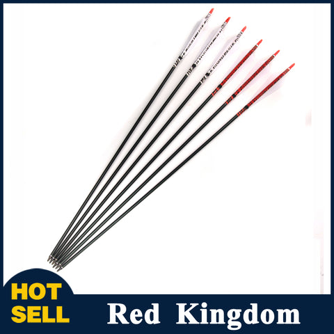 "6/12 Pcs 30"" Aluminum Arrow Spine 500 OD 7.8mm White/2 White 1 Red Turkey Feature"