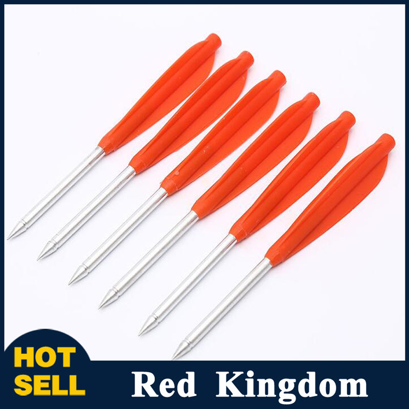 "12 Pcs 5.7"" Crossbow Bolt Fiberglass Arrow With Plastic Vane Steel Arrow Tip"