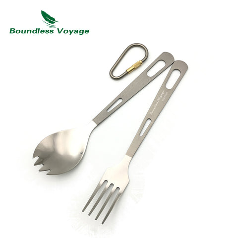 Titanium Fork Spoon Knife Sets Picnic Tableware Camping Chopsticks Outdoor Cutlery