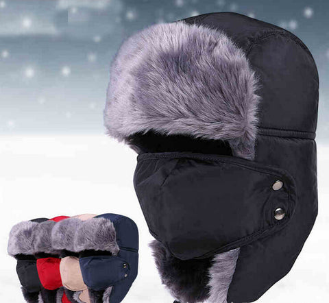 Women Men Winter Fur Hat With Face Mask Windproof Thick Warm Winter Snow Cap