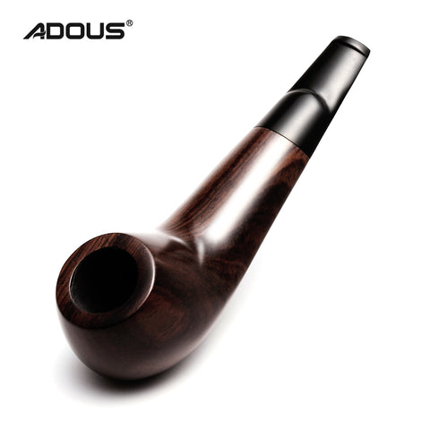 Ebony Tobacco Smoking Pipe Trumpet Style Short Paragraph AH652