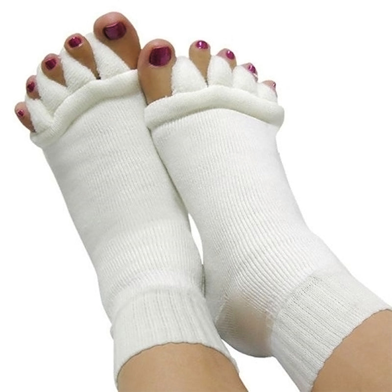 1 Pair Five Toe Separator Socks Pedicure Sock GYM Massage Foot Alignment Socks
