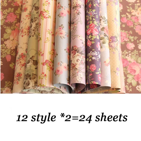 24 Sheets Pretty Floral Pattern Gifts Flower Wrapping Paper