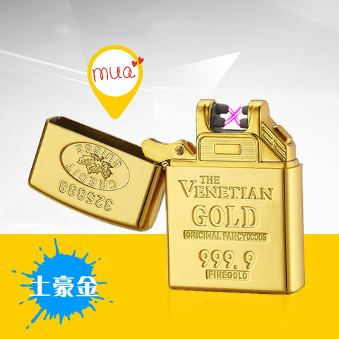 Zinc Alloy Shell Gold Brick Electronic Lighters Current Double Arc Ignition Lighter USB Charging