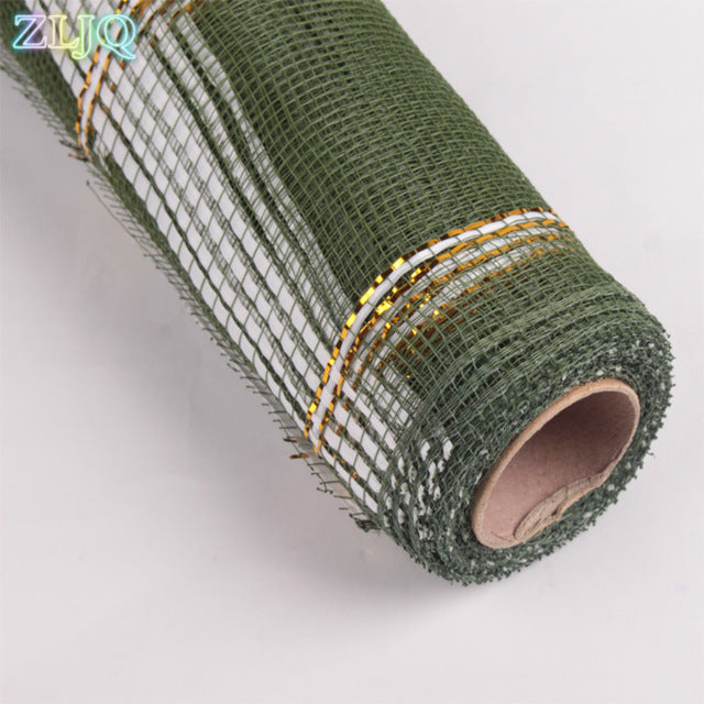 52cmx3.6m Four-wire Gauze Flowers Wrapping Paper Gold Wire Mesh Roll Wedding Decoration