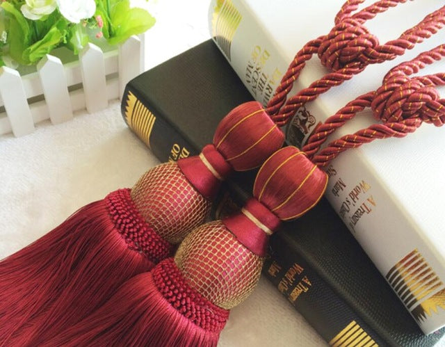 2 Pieces Luxury Home Decoration Curtain Tassel Tieback Clips Hanging Belt Ball