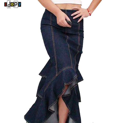 Vintage Ladies` Curvaceous Flounced Mermaid Ruffles Fishtail Floor Patchwork Stitching Denim Jeans Skirt