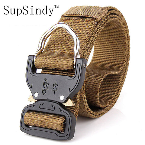 Men's Tactical Army Canvas Belt Metal Insert Buckle Military Nylon Training Belt