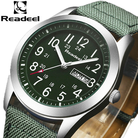 Men's Military Sports Watch Quartz Analog Clock Leather Canvas