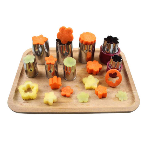8 Pcs Stainless Steel Puzzle Fruit Vegetable Cutter Mold Flower Shape Cookie Fondant Pastry Mould